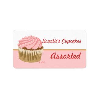 Etiquetas rosadas de la magdalena etiqueta de dirección