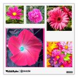 Etiquetas rosadas de la pared de las flores