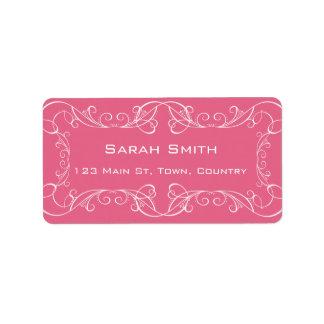 Etiquetas rosadas de RSVP de la vuelta del boda de Etiquetas De Dirección