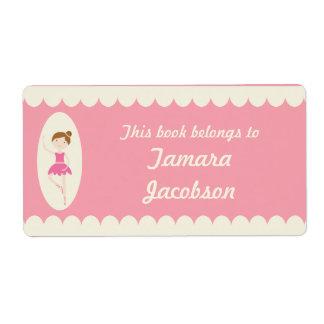 Etiquetas rosadas del Bookplate de la bailarina 1 Etiquetas De Envío