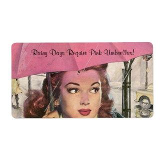 Etiquetas rosadas del día lluvioso del paraguas de etiqueta de envío