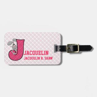 "Etiquetas rosadas del equipaje del monograma ""J"" d Etiquetas Maleta"