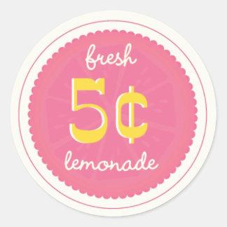 Etiquetas rosadas del favor de la limonada, pegati etiquetas redondas