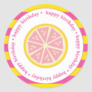 Etiquetas rosadas del favor de la limonada, pegatina redonda