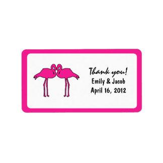 Etiquetas rosadas del favor de los flamencos etiqueta de dirección