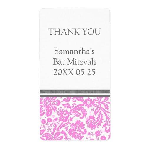 Etiquetas rosadas del favor de Mitzvah del palo de Etiqueta De Envío