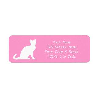 Etiquetas rosadas del gato con el texto elegante d etiqueta de remite