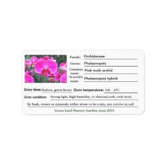 Etiquetas rosadas del jardín de flores de la etiqueta de dirección