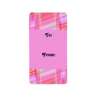 etiquetas rosadas del regalo de la onda etiquetas de dirección