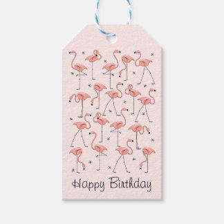Etiquetas rosadas del regalo del feliz cumpleaños etiquetas para regalos