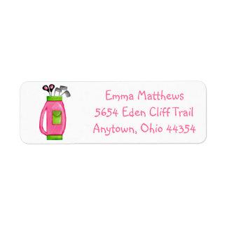 Etiquetas rosadas del remite de la bolsa de golf etiqueta de remitente