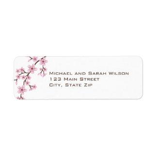 Etiquetas rosadas del remite de la flor de cerezo etiquetas de remite