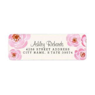 Etiquetas rosadas del remite de la impresión del r etiquetas de remite