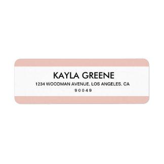 Etiquetas rosadas del remite de la raya etiqueta de remitente