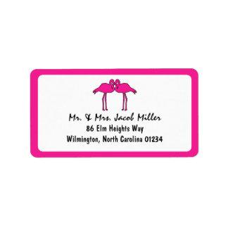 Etiquetas rosadas del remite de los flamencos etiqueta de dirección