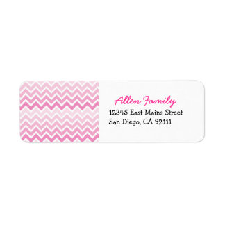 Etiquetas rosadas del remite de Ombre Chevron Etiquetas De Remite