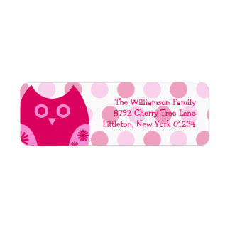 Etiquetas rosadas del remite del búho etiqueta de remitente