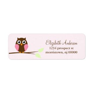 Etiquetas rosadas del remite del búho etiquetas de remite