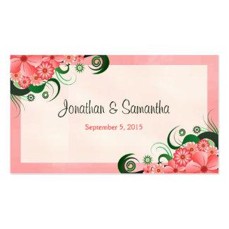 Etiquetas rosadas florales del favor del favor del tarjetas de visita