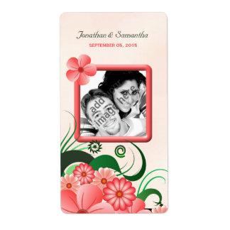 Etiquetas rosadas florales del vino de la foto del etiqueta de envío