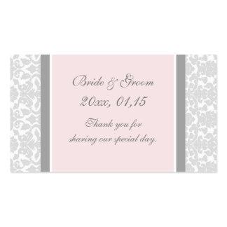 Etiquetas rosadas grises del favor del boda del da plantilla de tarjeta de visita