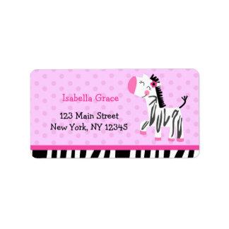 Etiquetas rosadas lindas del remite de la cebra etiqueta de dirección