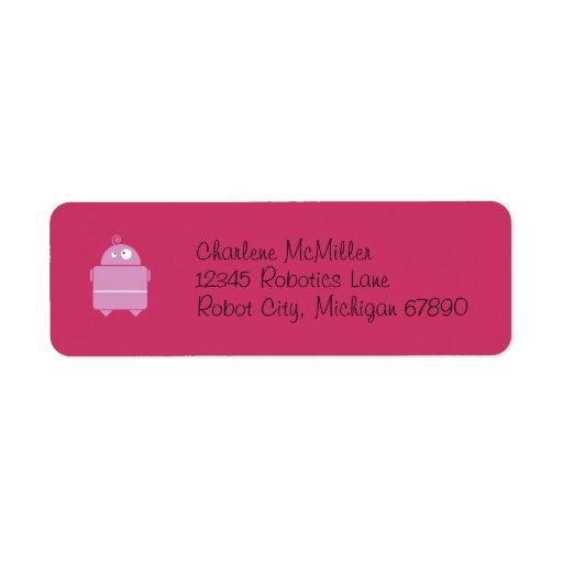 Etiquetas rosadas lindas del remite del robot etiquetas de remite