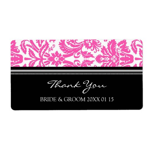 Etiquetas rosadas negras del boda del damasco etiquetas de envío