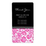 Etiquetas rosadas negras del boda del modelo del d etiqueta de envío