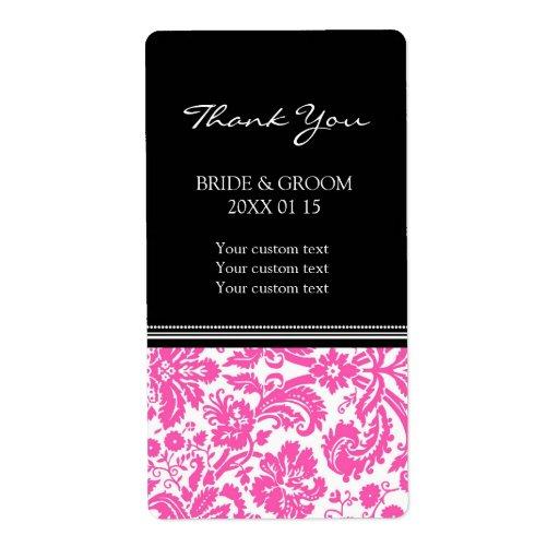Etiquetas rosadas negras del boda del modelo del d etiquetas de envío