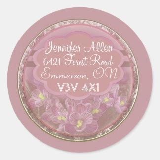 Etiquetas rosadas oscuras del azafrán pegatinas redondas