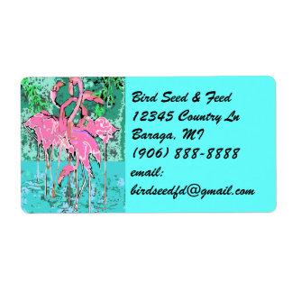 Etiquetas rosadas tropicales retras del flamenco d etiqueta de envío