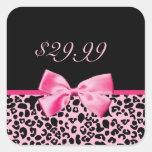 Etiquetas rosadas y negras de moda de las ventas calcomanías cuadradases