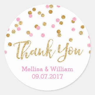 Etiquetas rosas claras del favor del boda del pegatina redonda