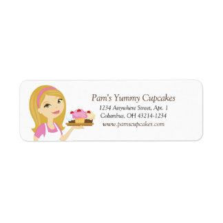 Etiquetas rubias/rosadas del remite del panadero etiqueta de remitente