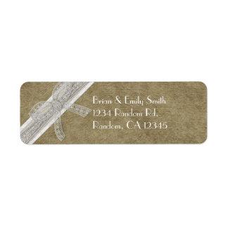 Etiquetas rústicas del remite de la cinta del cord etiqueta de remitente