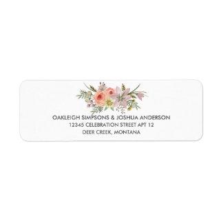Etiquetas simples del remite de la flor el | de la etiqueta de remitente
