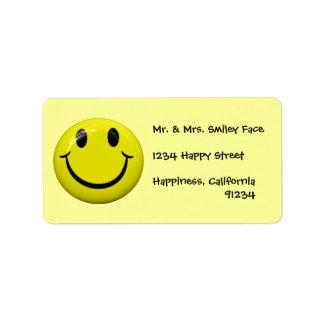 Etiquetas sonrientes de la cara etiqueta de dirección