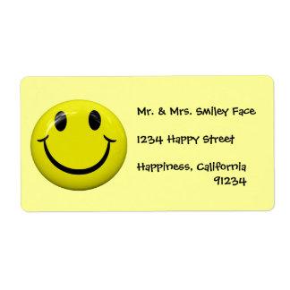 Etiquetas sonrientes de la cara etiqueta de envío