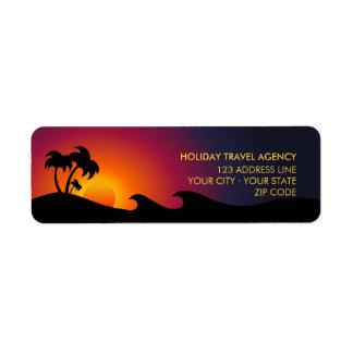 Etiquetas tropicales de las palmeras del océano de etiqueta de remite
