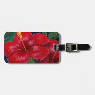 Etiquetas tropicales del equipaje del hibisco del  etiquetas maletas