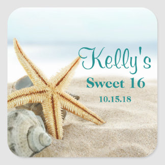 Etiquetas tropicales del favor del dulce 16 de pegatina cuadrada