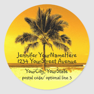 Etiquetas tropicales del remite de la palmera pegatina redonda