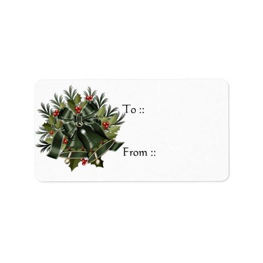 Etiquetas verde oscuro de la etiqueta del regalo d etiqueta de dirección