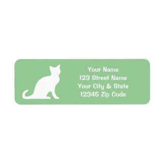 Etiquetas verdes del gato con remite de encargo etiquetas de remite