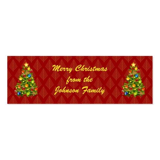 Etiquetas verdes del regalo del árbol de navidad plantilla de tarjeta de visita