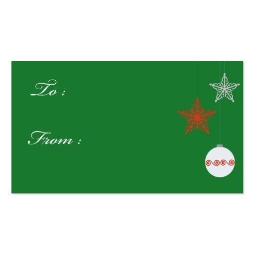 Etiquetas verdes del regalo del navidad tarjetas de visita