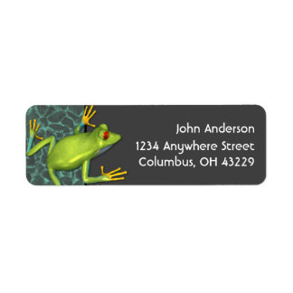 Etiquetas verdes del remite de la rana arbórea etiqueta de remitente