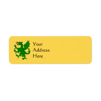 Etiquetas (verdes) desenfrenadas del remite del etiqueta de remite