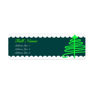 Etiquetas verdes fluorescentes del árbol de navida etiquetas de remite